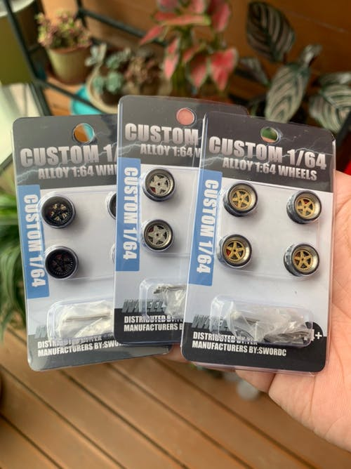 1:64 Scale Rubber Tire Wheels with Brake Disc Universal For Tomica Hotwheels Kyosho Greenlight