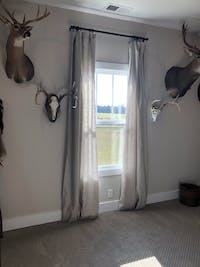 Linen Curtain Panel with White Cotton Lining - 53