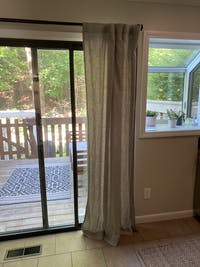 """Linen Curtain  with White Cotton Lining and Back Tabs - Privacy Linen Drapery 53"""" Wide - Hidden Tabs"""