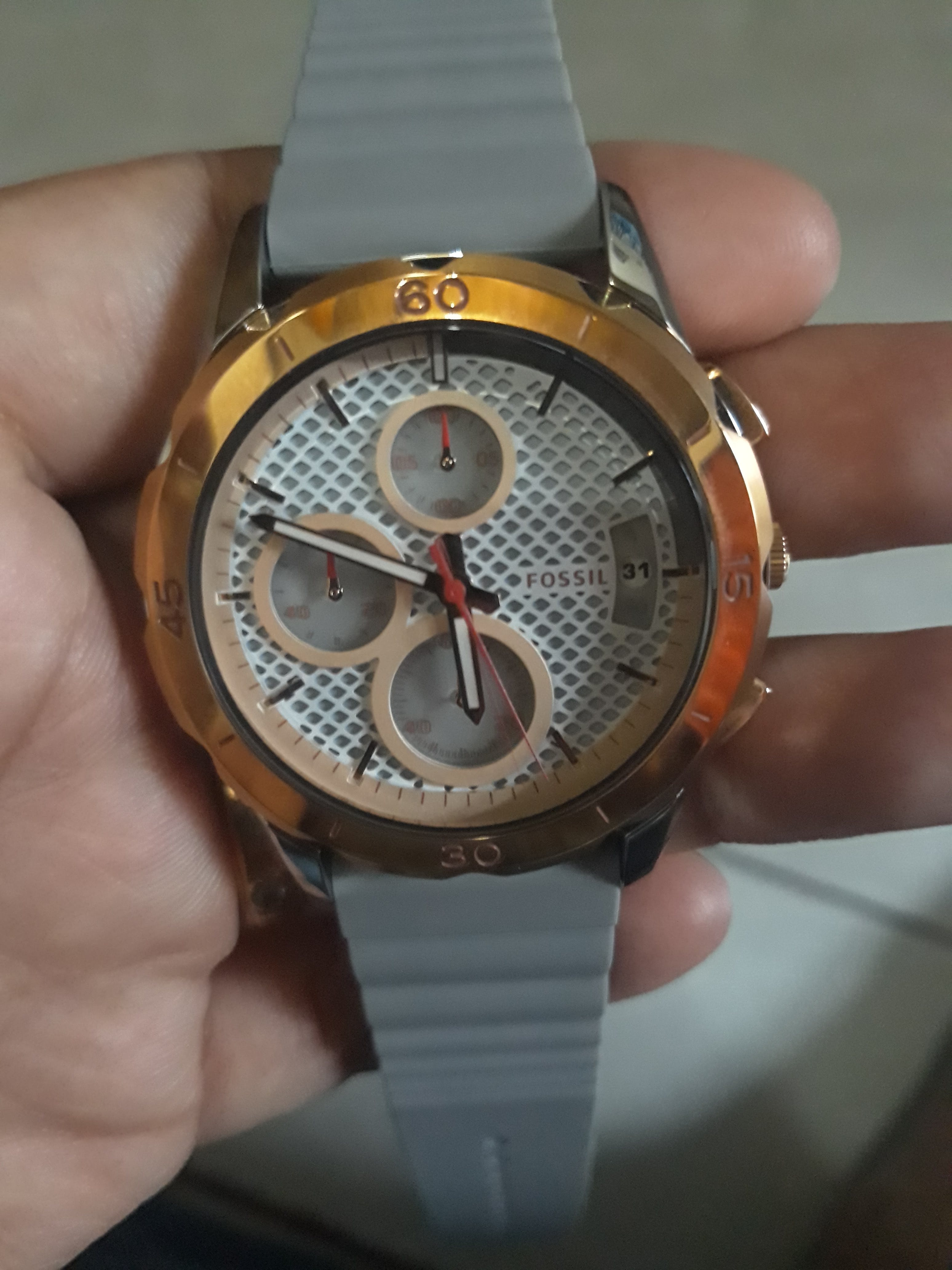 Fossil Es4042 Womens Modern Pursuit Chronograph White Dial Grey Watch User Picture