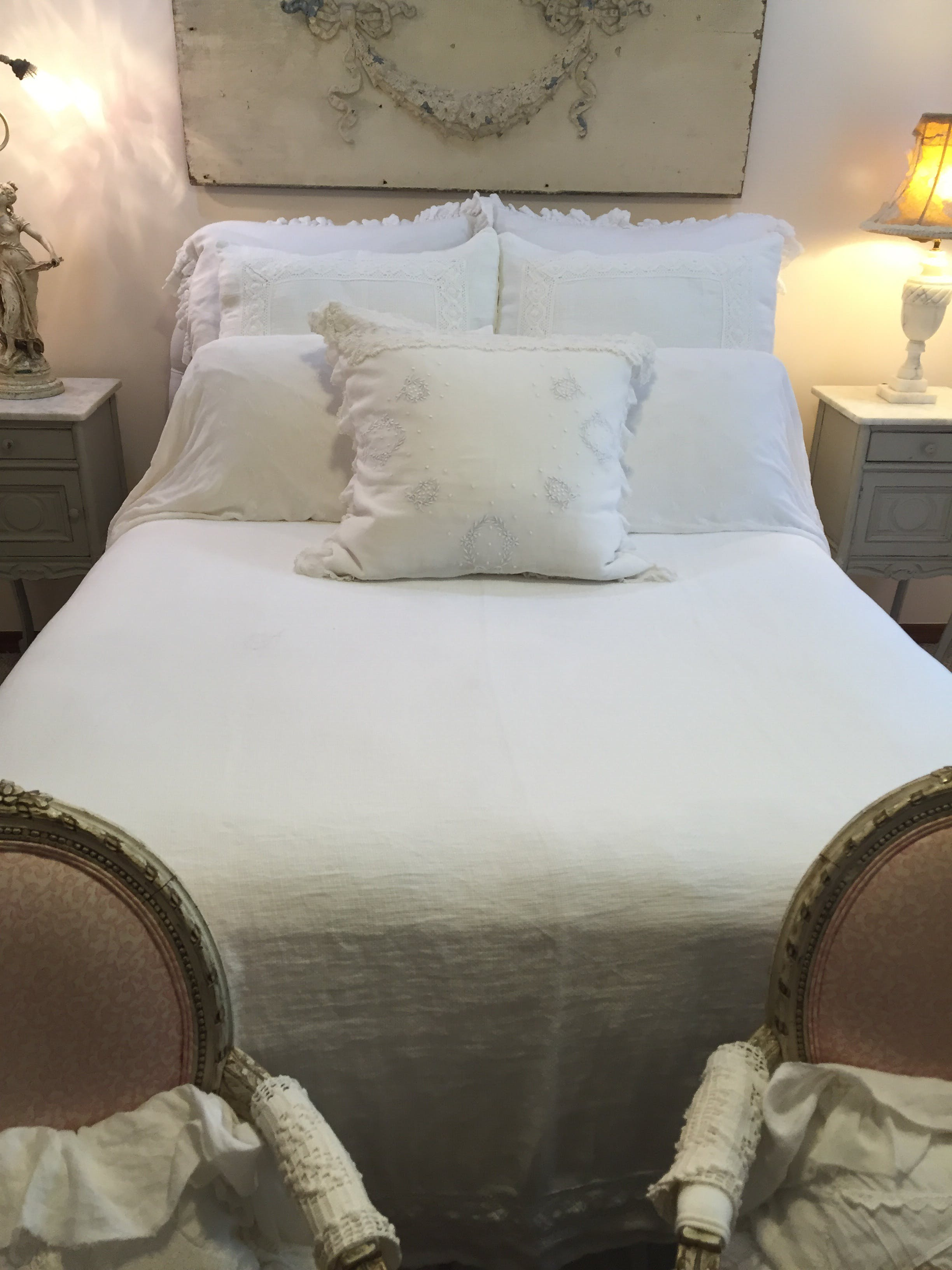 Bed Coverlet White Mesh Linen Lace Queen Bed Coverlet