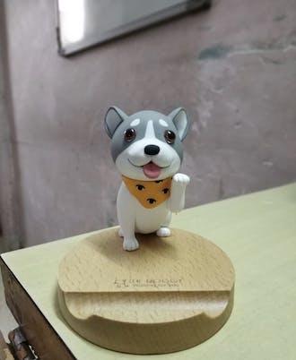 3D Wooden Doggo Phone Stand