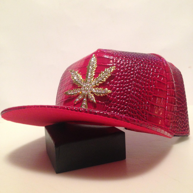 Pleather Fashion Mens Hip Hop Weed Flatbill Cap