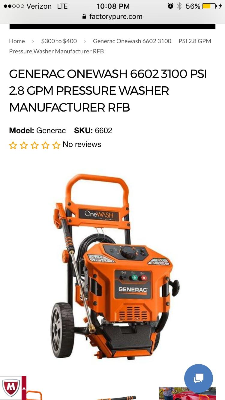 Generac Onewash 6602 3100 Psi 2 8 Gpm Pressure Washer New