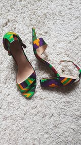 African Print Kente LARISSA Block Heel Sandals **RUNS LARGE; GO A SIZE DOWN**