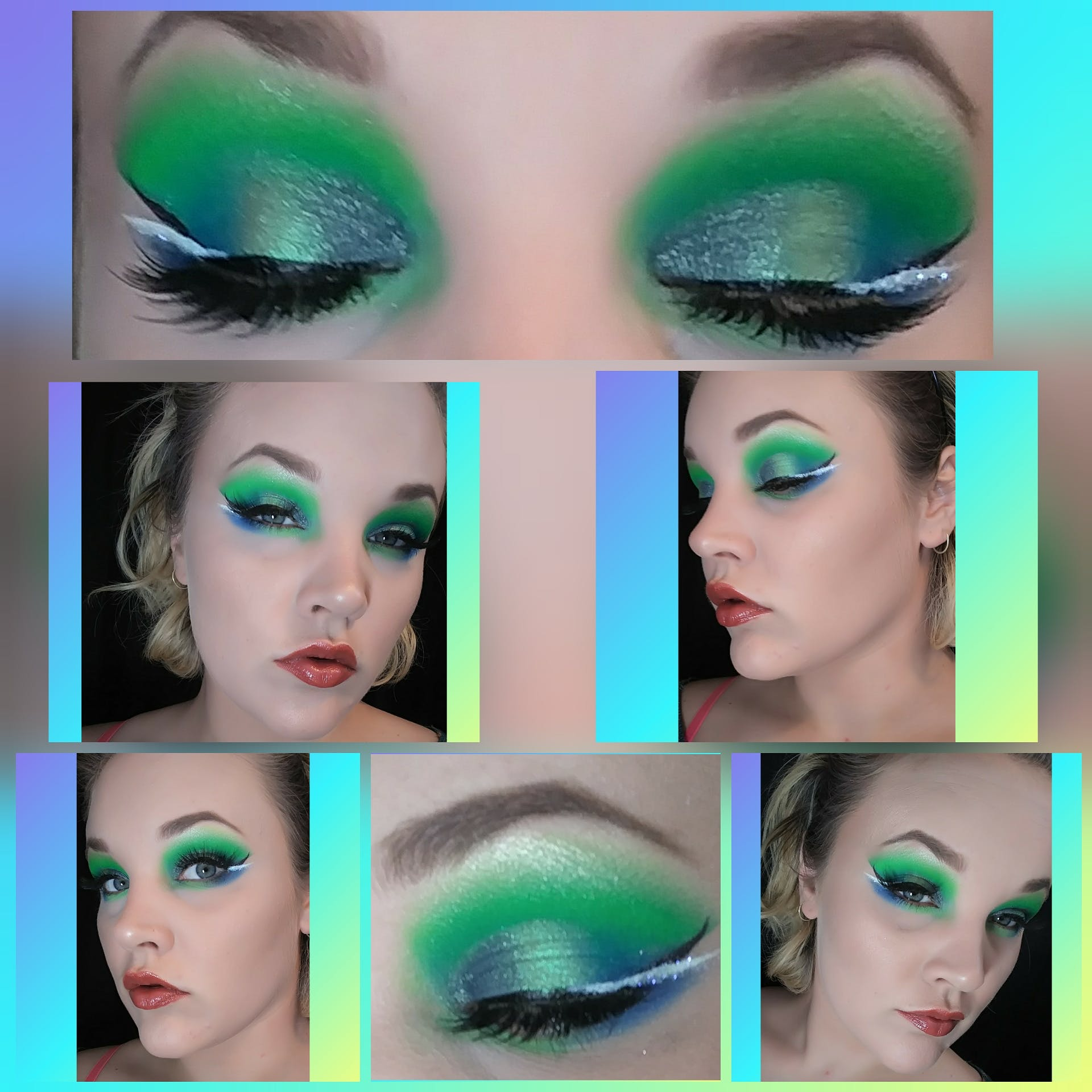 ... so it eventually because matte 😊 i used the blues and greens in this look. (I also used another brand of eyeshadow with it as well.