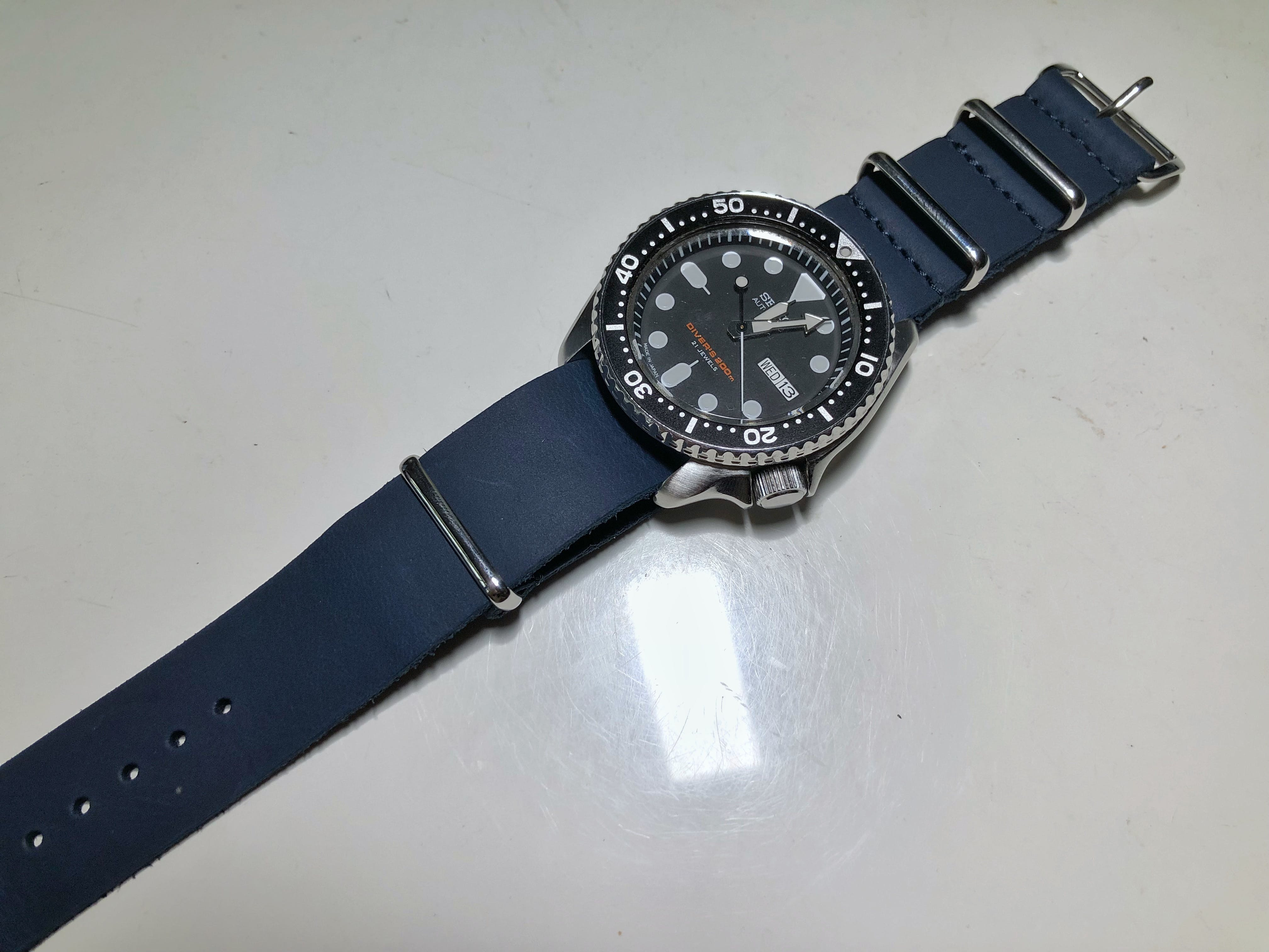 f4cb5869c58 ... time cheap leather straps are what they are – cheap. The blue leather  Nato is really well made