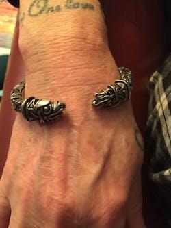 Pewter Bracelet with Odin's Ravens Heads (Oseberg Style)
