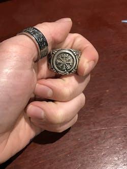Vegvisir and Jormungand Silvered Bronze Ring