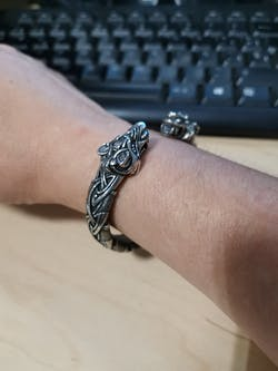Pewter Bracelet with Wolf's Heads