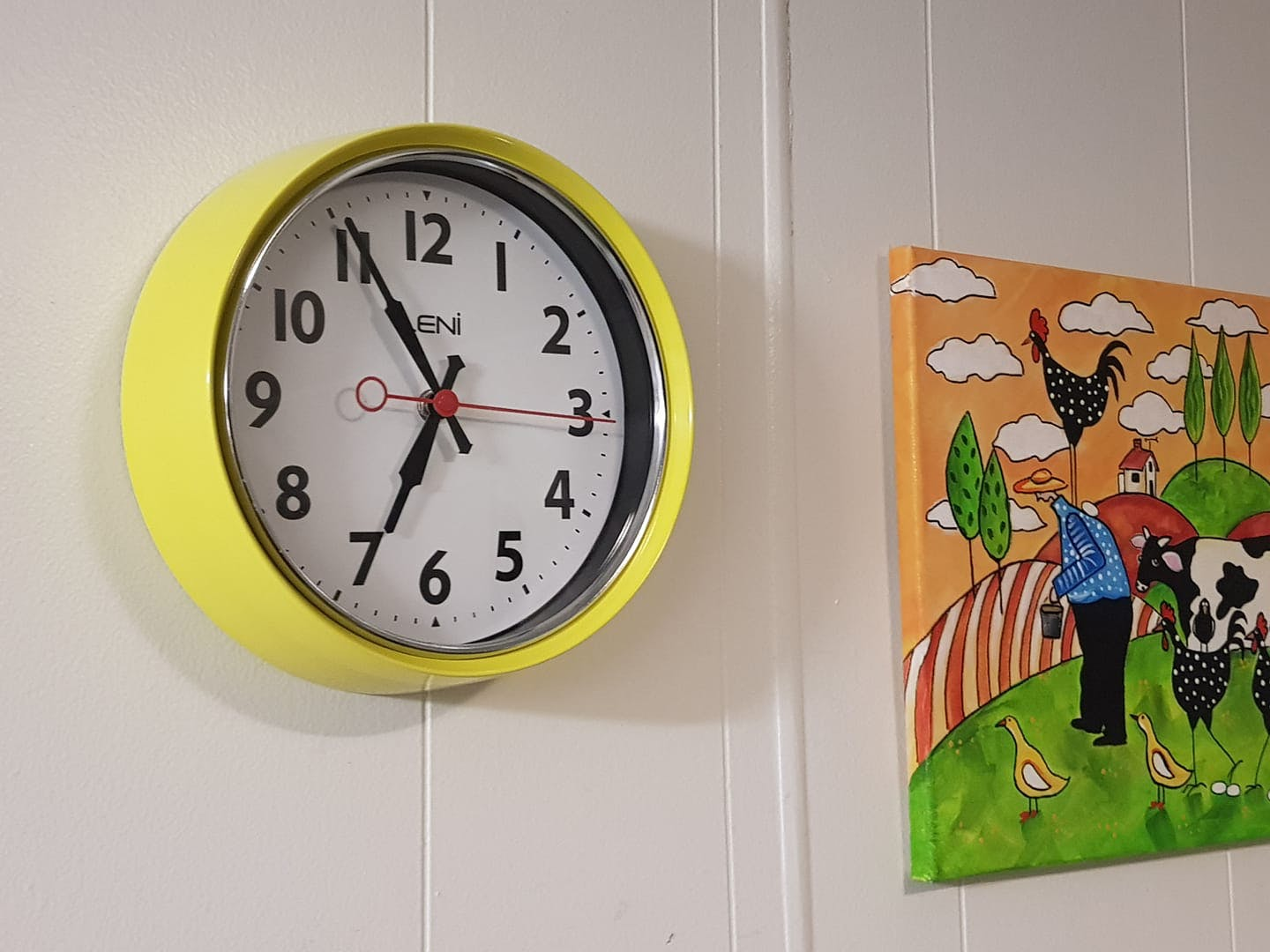 Leni Essential Wall Clock, Bitter Lemon, 22cm
