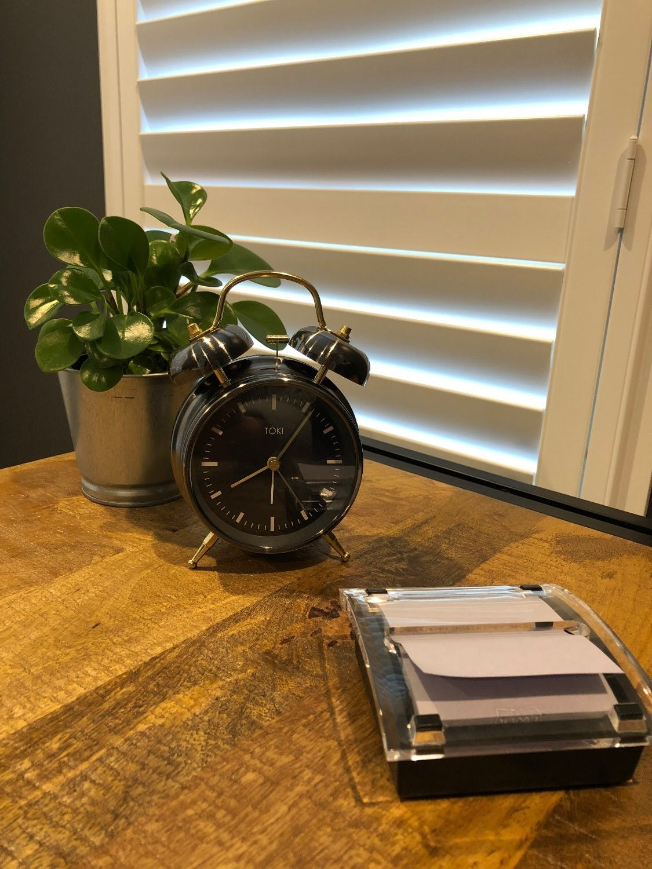 Toki Tomas Twin Bell Silent Alarm Clock, Gun Metal, 18cm