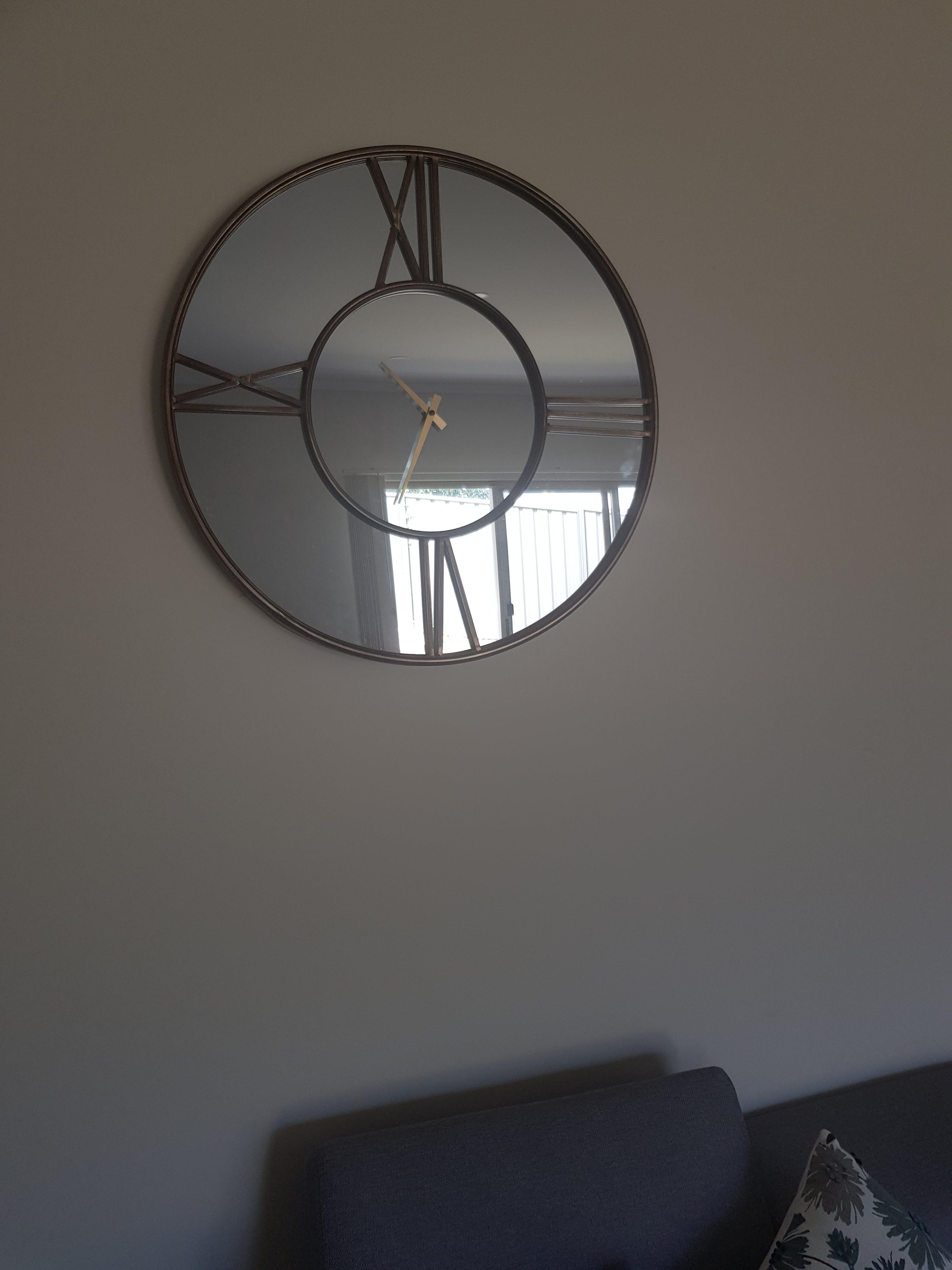 Mirrored Contemporary Round Wall Clock, 70cm