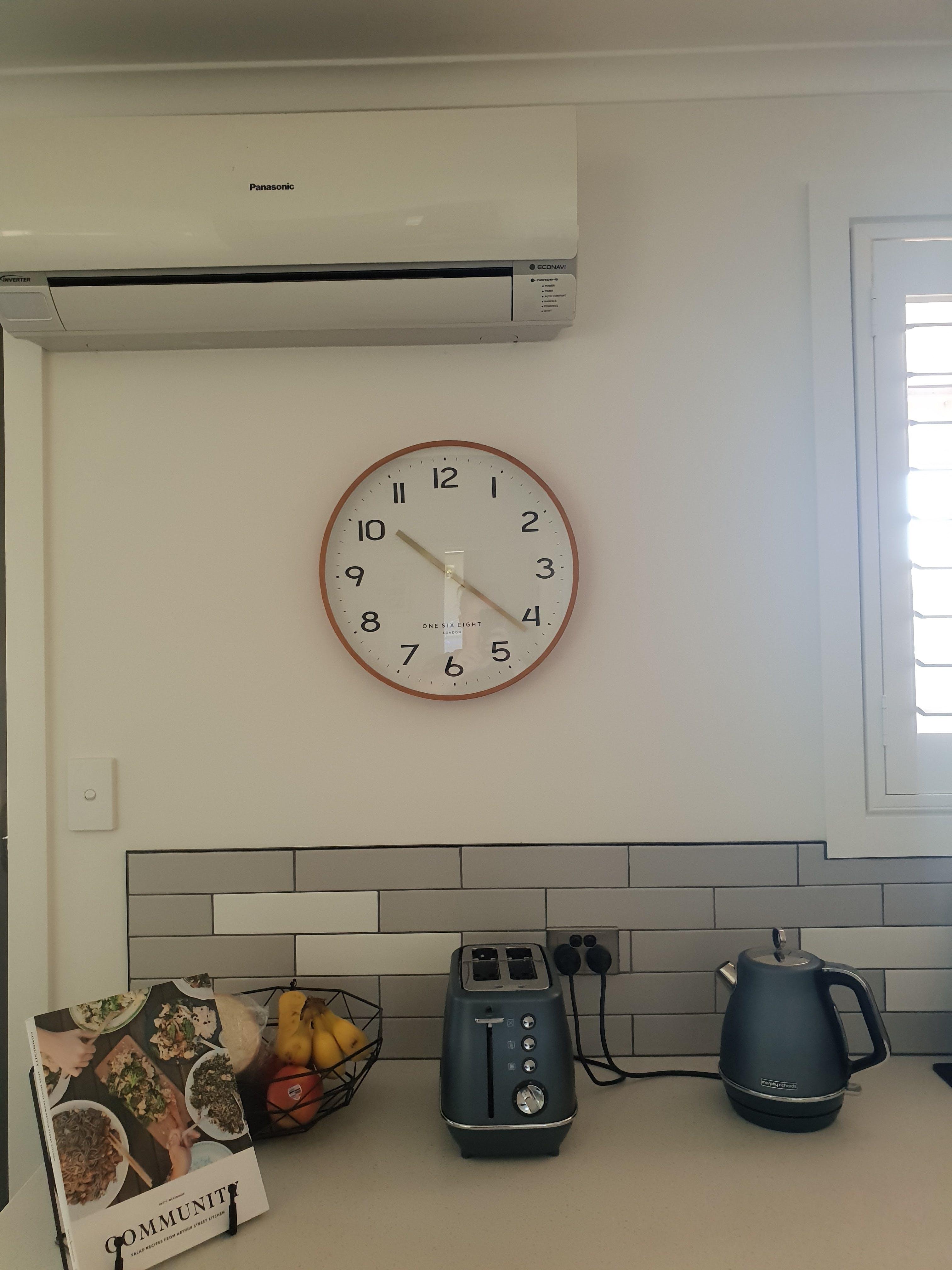 One Six Eight London Erika Wall Clock, White, 41cm + GIFT