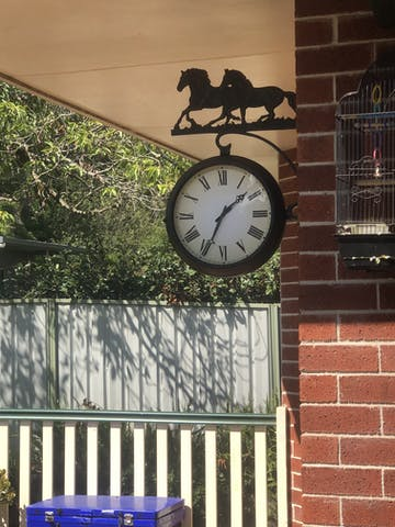 Running Horses Double Sided Thermometer Outdoor Wall Clock, 69cm