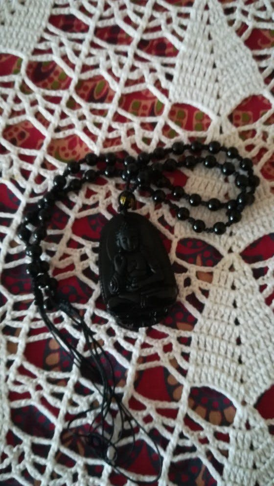 Natural Obsidian Carved Buddha Necklace