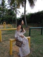Soft Nude Floral Print Sheer Off-Shoulder Dress