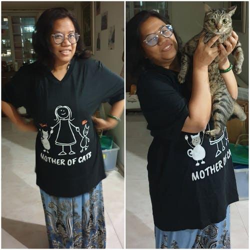 Mother of Cats - 2 Cats (Custom Names) V-Neck Tee