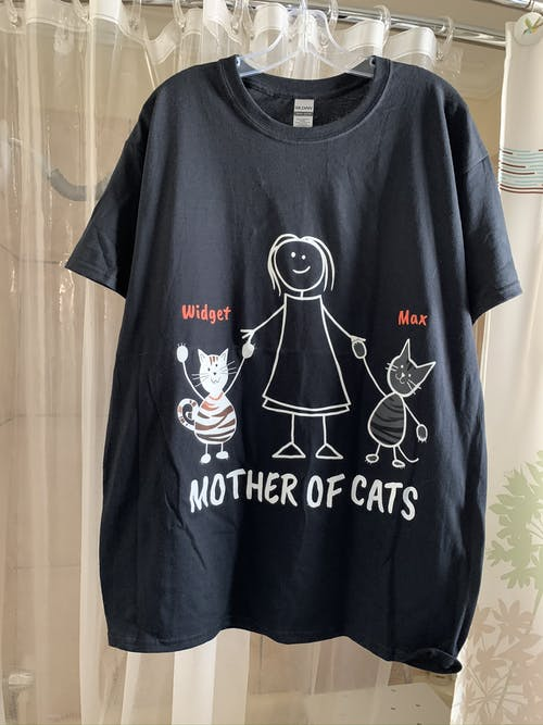 "2 Cats (Custom Names) - ""Mother/Father Of Cats"" - T-Shirt/Hoodie"