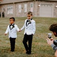 Toddler to Men Slim 7pc White Beige Suit Black Lapel