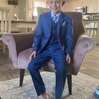 Slim Fit 7pc Blue Suit 1-18