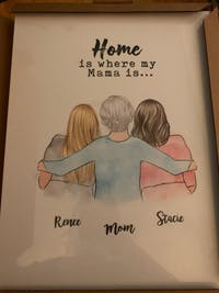 Personalized Poster & Canvas Mom hug, Mother and son , mother and son , daughter , mother and 2 sons , mother and  2 daughter , love you to the moon and back HT01