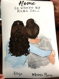 Personalized Canvas & Poster Mother's Hug, Mom and Daughter, Grandma and Granddaughter Mom and daughter Mom and 2 daughters Mom and 3 daughters Mom and 4 daughters Mother day gift HT01
