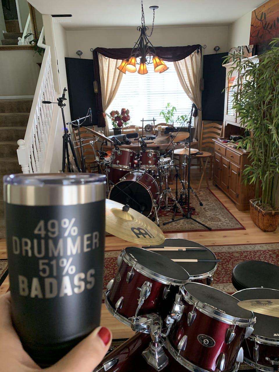 Best Drumming Gift: 49% Drummer 51% Badass Insulated Tumbler 20oz