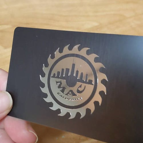 Black Frosted Thick Plastic Business Cards | Real Gold Foil