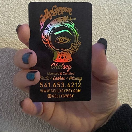 Holographic, Gold, Neon, Silver Foils | Translucent Business Card, Tint Gradient