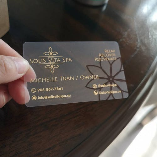 Glossy Transparent Plastic Business Cards |  Full color Printing | Gold Foil