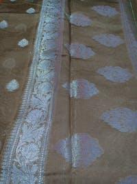 Brown Shade Cotton Silk Silver Banarasi Handwoven Saree