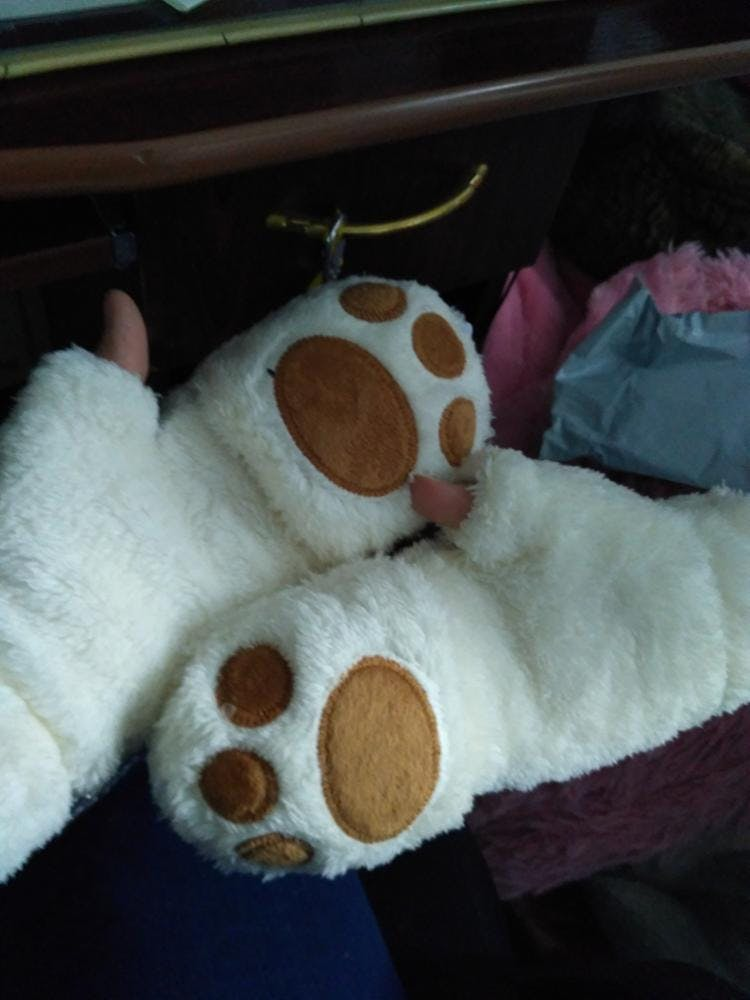 Animal Paw Fingerless Mittens with Flap
