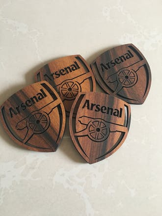 Arsenal Laser Cut Wooden Coasters - Set of 4