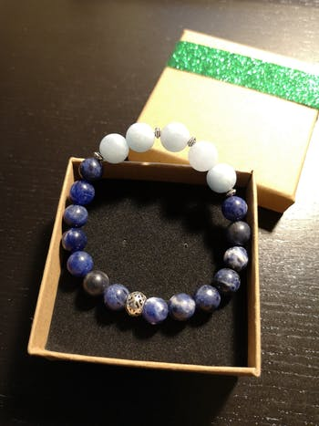 Serenity, Calm and Inner Peace - Frosted Aquamarine and Sodalite Stretch Bracelet