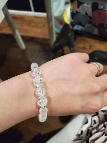 Amplifier and Clearing Negative Energy  - Natural Crackle Quartz and Frosted Clear Quartz Stretch Bracelet