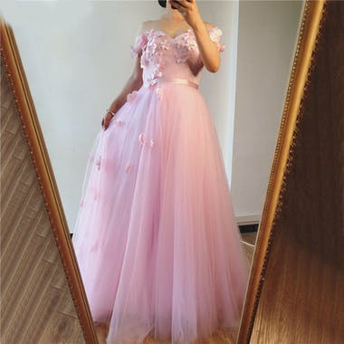 Sleeveless Off-The-Shoulder Floor-Length With Applique Tulle Dresses