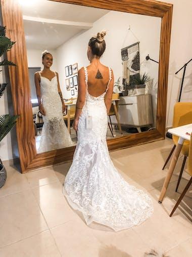 Bridelily Amazing Appliques Tulle Mermaid Wedding Dress