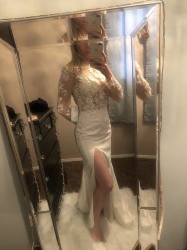Mermaid \ Trumpet Wedding Dresses Jewel Neck Sweep \ Brush Train Lace Tulle Stretch Satin Long Sleeve Sexy See-Through