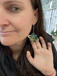 In Orbit Recycled Planet Drop Earrings - Neptune Nebula 02