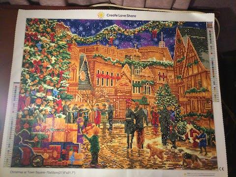Christmas at Town Square Diamond Painting Art Kit
