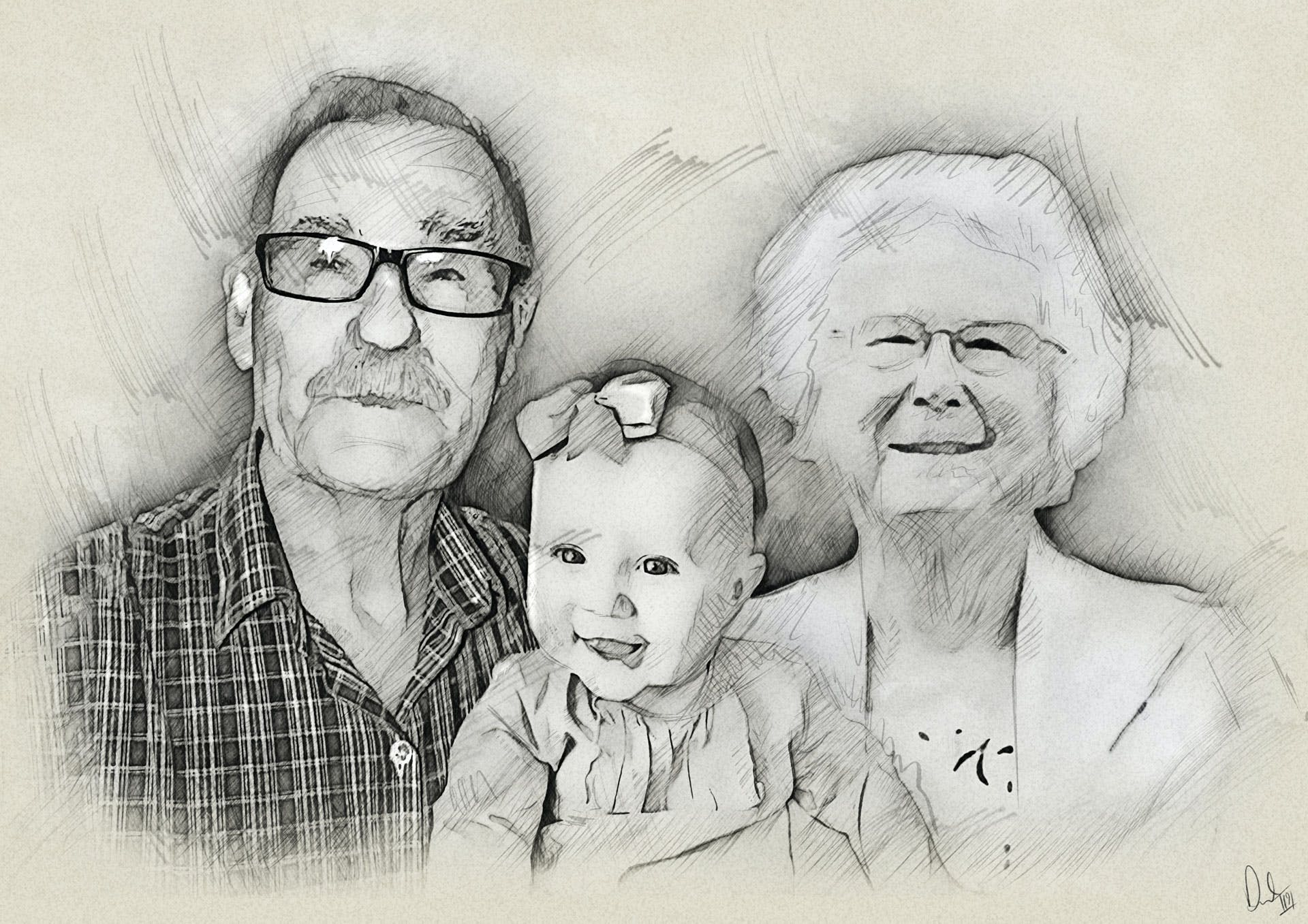 Realistic detailed custom portrait drawing