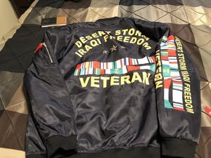 Desert storm iraqi freedom veteran over print jacket