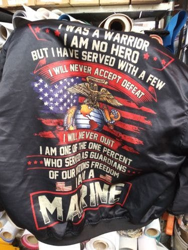 i was a warrior i am no hero but i have served with a few i will never accept defeat - Marine over print Bomber jacket