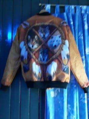 4 WOLVES DREAM CATCHER NATIVE OVER PRINT BOMBER JACKET