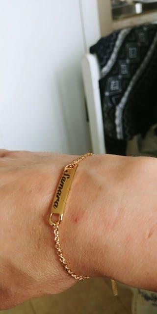 Gold Dainty Engraved Letter Charm Bracelets
