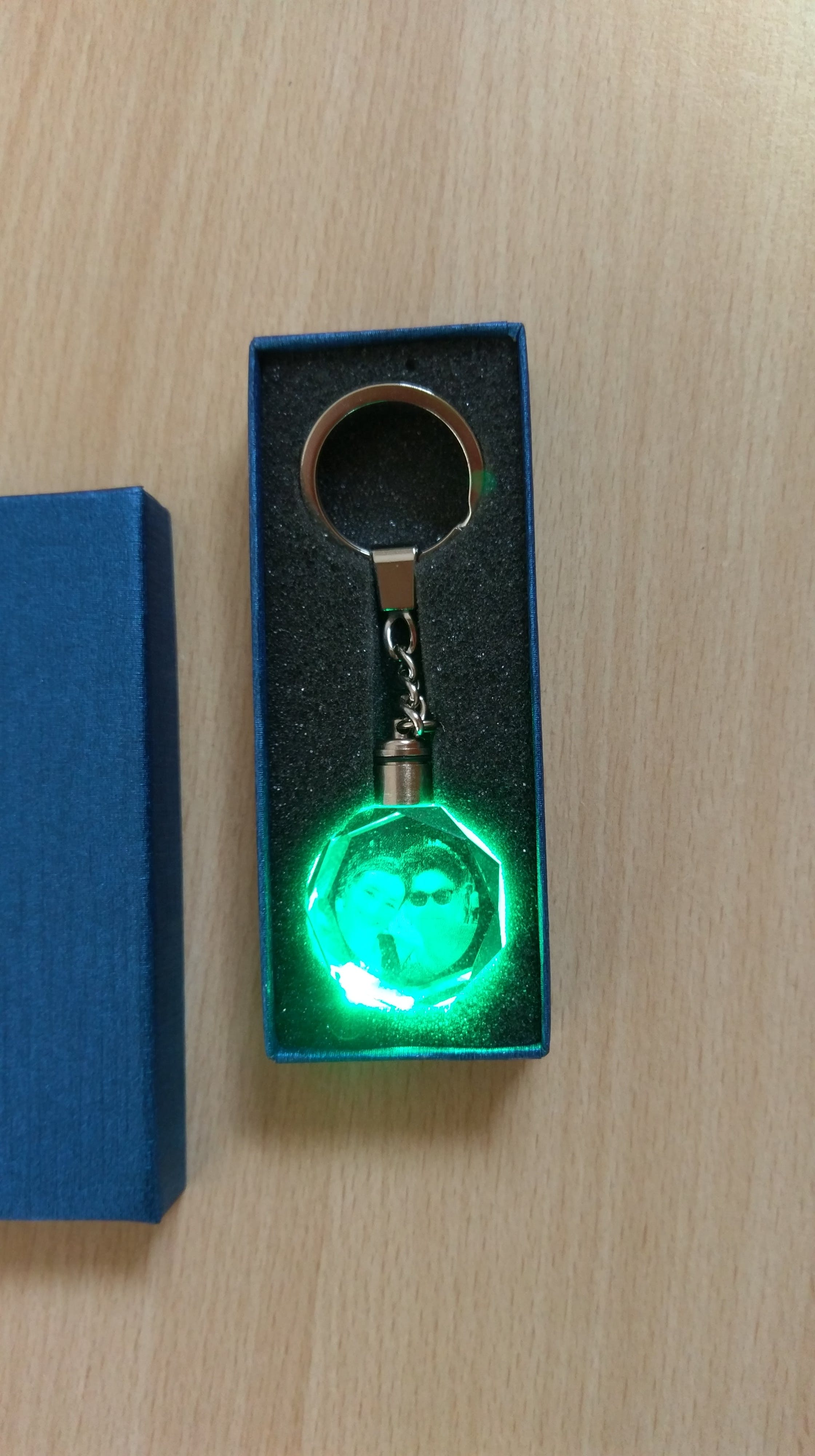 Personalized Your Own Photo - Laser Engraving Crystal Glass Keychain with LCD Light