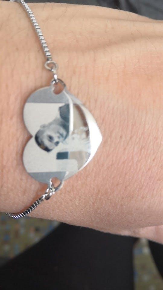 Custom Personalized Photo Heart Bangle Bracelet