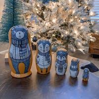 Nesting dolls for kids beige matryoshka bear