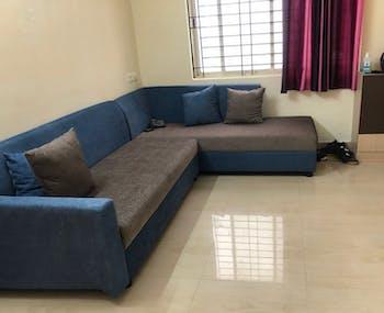 Havana 5 seater Dual Tone Premium L Shape Sofa Set - Fabric Blue Brown